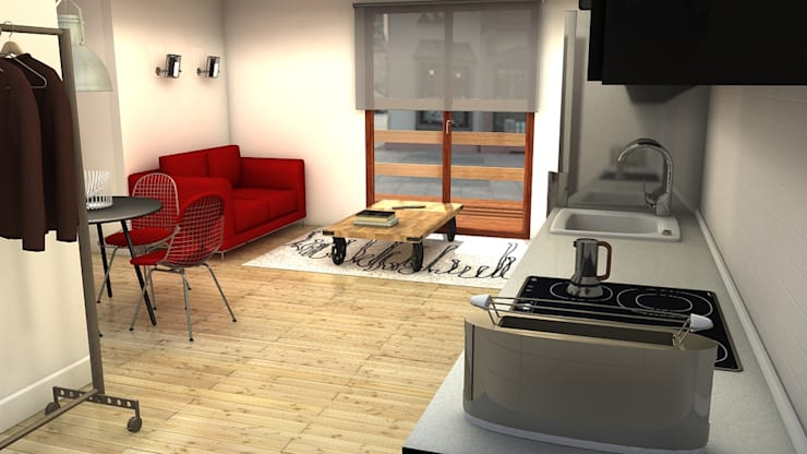 Salón con terraza: Salones de estilo industrial de M2 Al Detalle