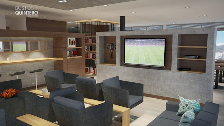 Sala TV: Salas multimedia de estilo  por Bustos + Quintero arquitectos