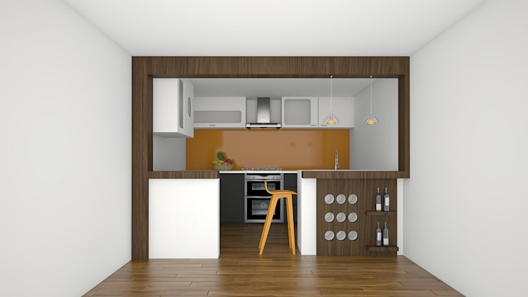 Open Space Kitchen Ideas:  Built-in kitchens by Urban Living Designs