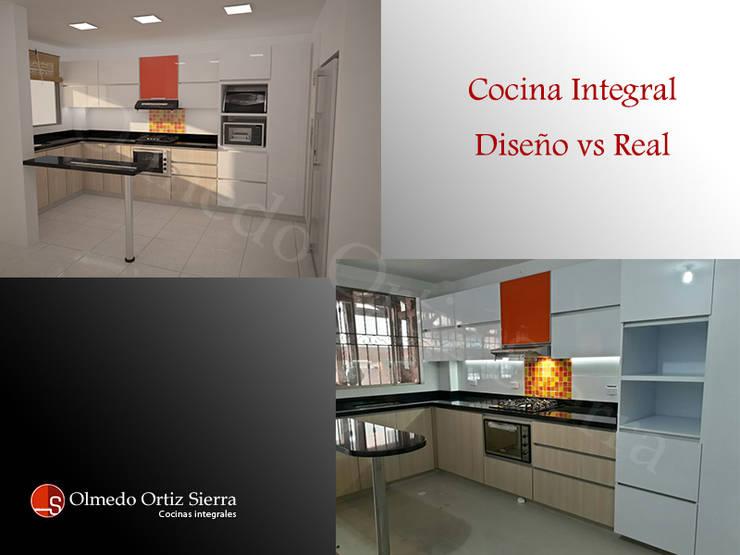 Diseño Cocina vs Cocina Real:  de estilo  por Cocinas Integrales Olmedo Ortiz Sierra