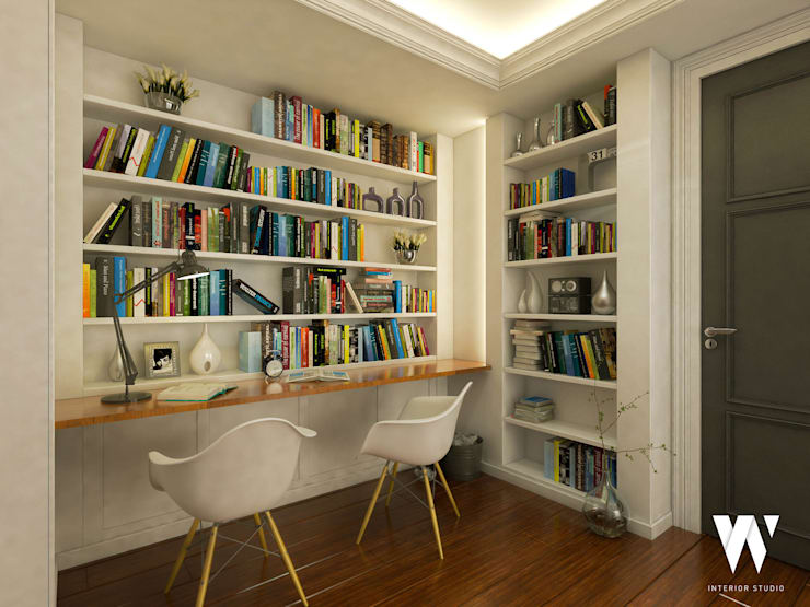 Ping House - Library Area:  Ruang Kerja by w.interiorstudio