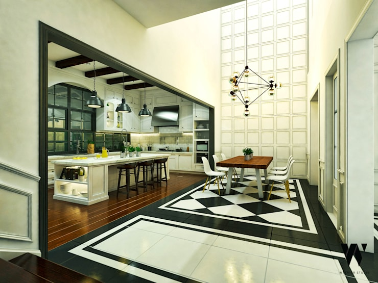Ping House - Dining Area:  Ruang Makan by w.interiorstudio