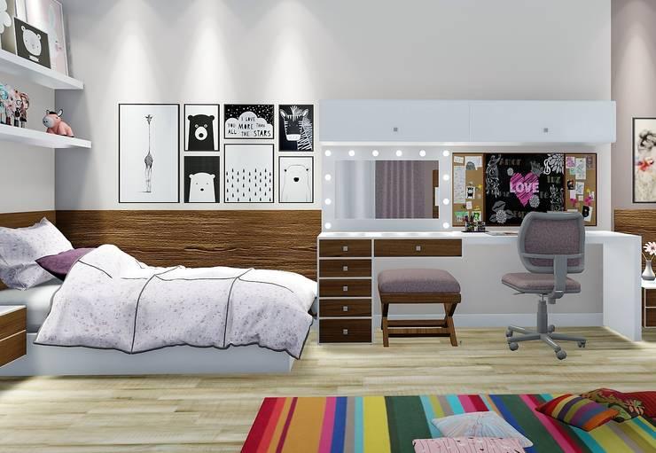 غرفة نوم مراهقين  تنفيذ Trivisio Consultoria e Projetos em 3D