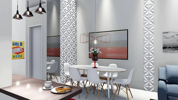 Casa pequena e charmosa: Salas de jantar  por Trivisio Consultoria e Projetos em 3D