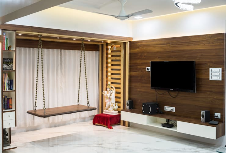 Tv unit :  Living room by The inside stories - by Minal