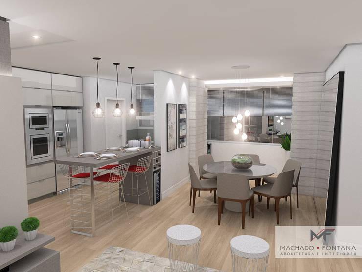 Cozinha e Sala de Jantar: Salas de jantar modernas por Machado Fontana | Arquitetura e Interiores