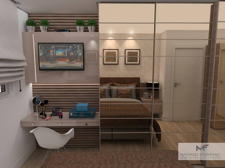 Suíte do casal: Quartos  por Machado Fontana | Arquitetura e Interiores