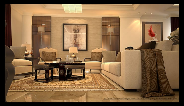 Villa design:  Living room by AL-TRASS CREATIONS DESIGN