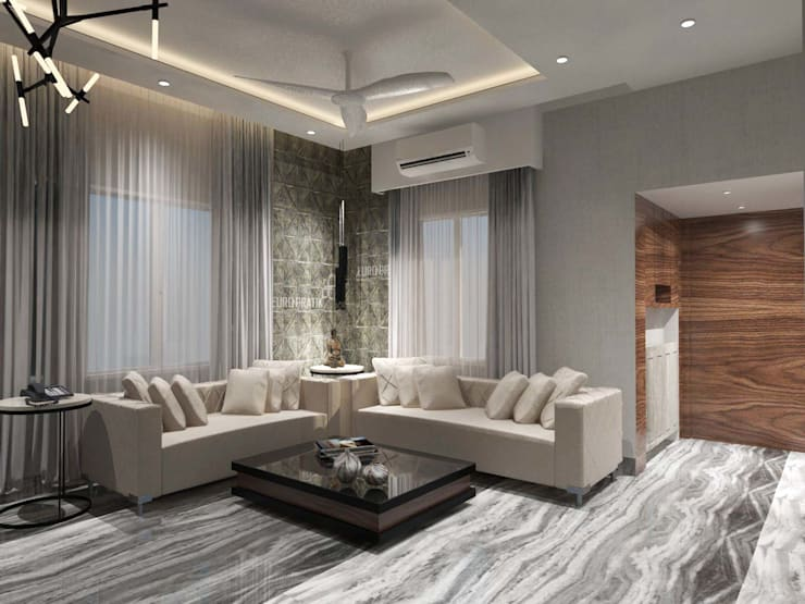 Contemporary design:  Living room by Bhavana Jain Designs