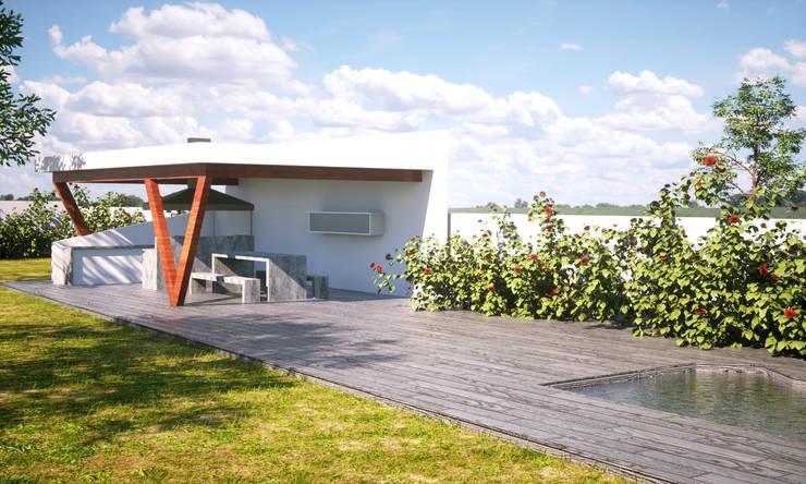 QUINCHO CONDOMINIO LOS LIRIOS : Terrazas  de estilo  por IMAGINA REALIDAD LTDA.