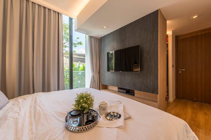 Design & Build: Condominium @ Eunos (Modern Scandinavian): modern Bedroom by erstudio Pte Ltd