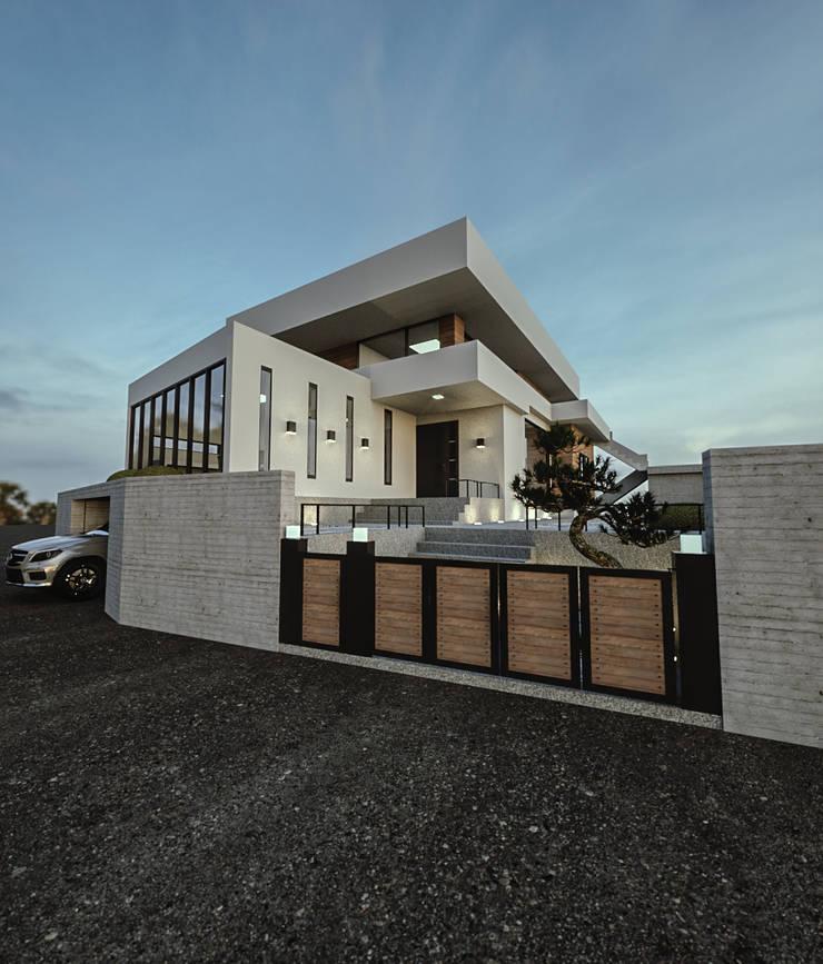 노후된 주택 리모델링 디자인-외부 파사드: 디자인 이업의  주택,