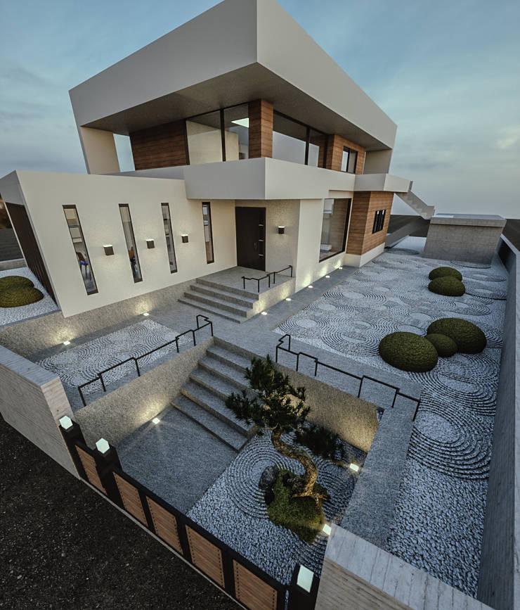 노후된 주택 리모델링 디자인-정원디자인: 디자인 이업의  정원,
