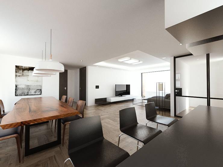 노후된 주택 리모델링 디자인-거실 인테리어디자인: 디자인 이업의  거실,
