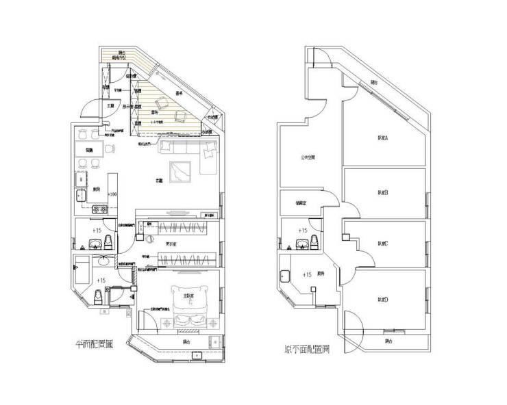 原平面配置V.S新平面配置:  客廳 by Hi+Design/Interior.Architecture. 寰邑空間設計
