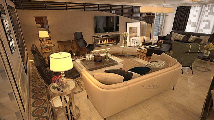 Villa living area:  Living room by AL-TRASS CREATIONS DESIGN