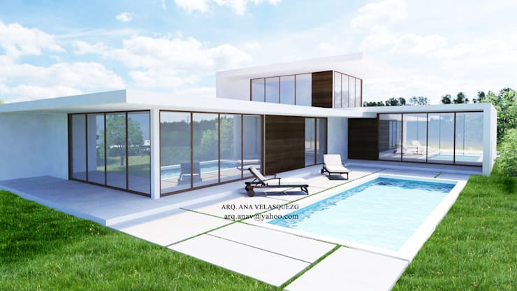 Casas de campo de estilo  por ESCENA VIRTUAL 3D ARQUITECTURA