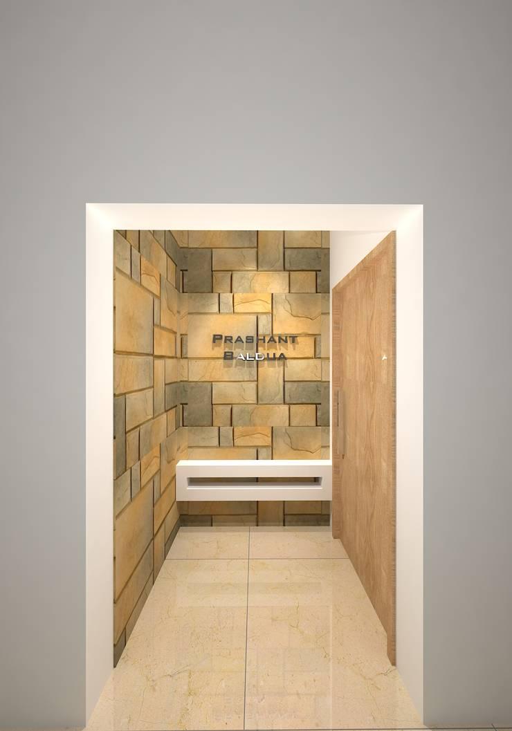 Prashant Residence:  Corridor & hallway by Gurooji Designs