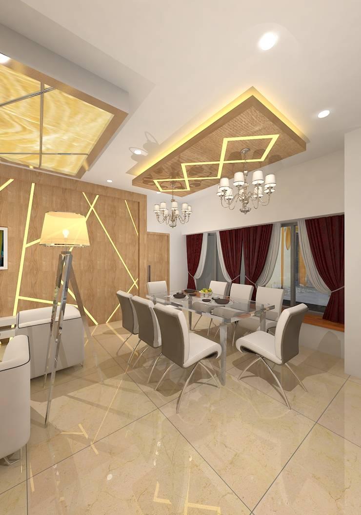 Prashant Residence:  Dining room by Gurooji Designs