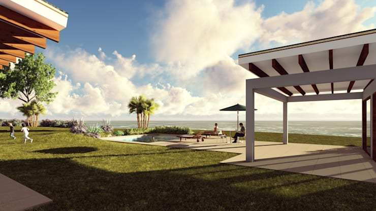 Area Social: Jardines de estilo  por Atelier Arquitectura