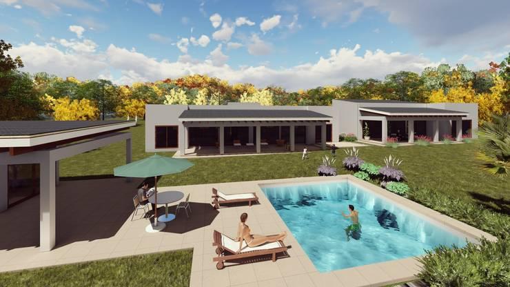 Area Social: Piscinas de jardín de estilo  por Atelier Arquitectura