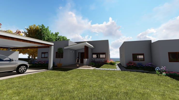 Acceso: Casas unifamiliares de estilo  por Atelier Arquitectura