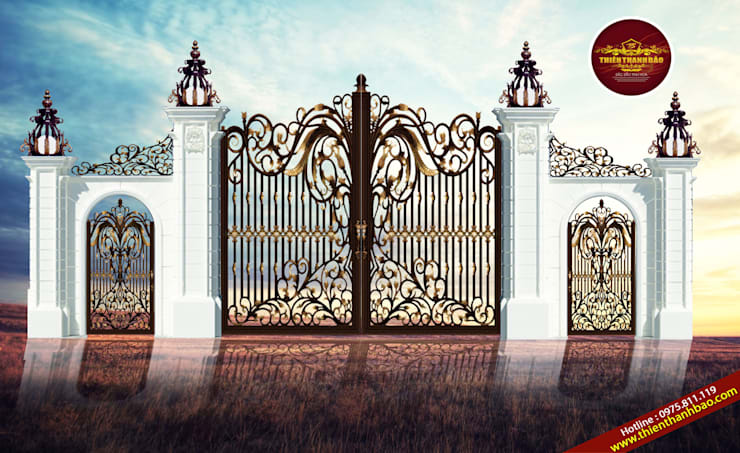 Cổng biệt thự hoa lá tây:  Biệt thự by Cổng nhôm đúc Thiên Thanh Bảo