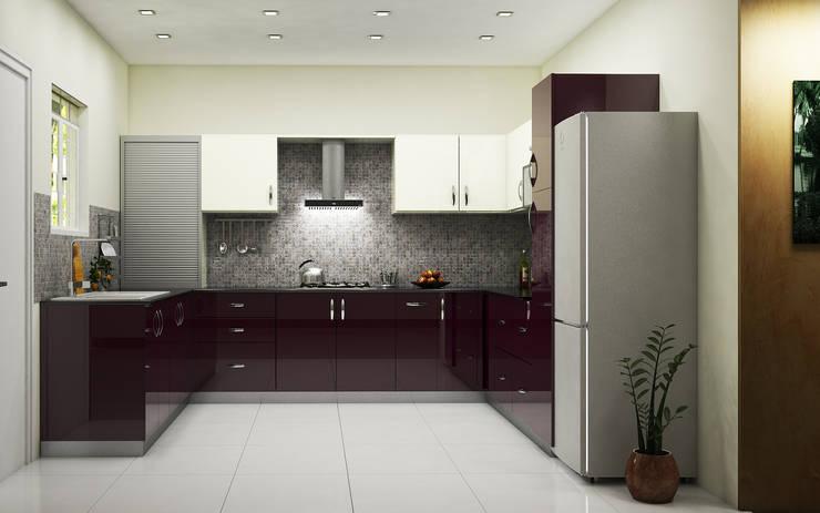 U-Shaped Modular Kitchen Design In Ghaziabad & Greater Noida: modern  by Wallsfloor.com,Modern Textile Amber/Gold