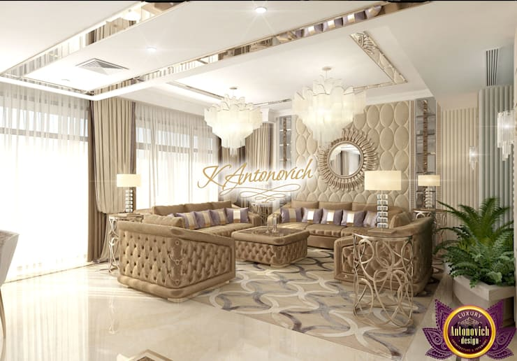 ​Stylish interior design by Katrina Antonovich:  Living room by Luxury Antonovich Design