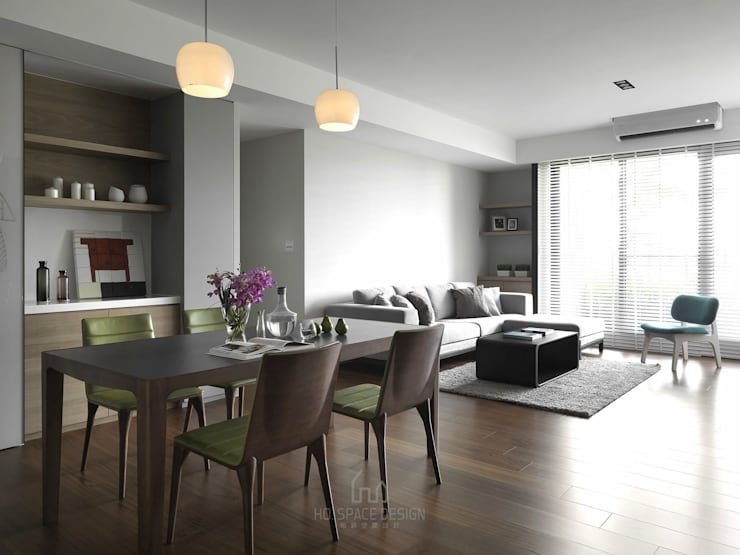大毅家風景L宅:  餐廳 by Ho.space design 和薪室內裝修設計有限公司