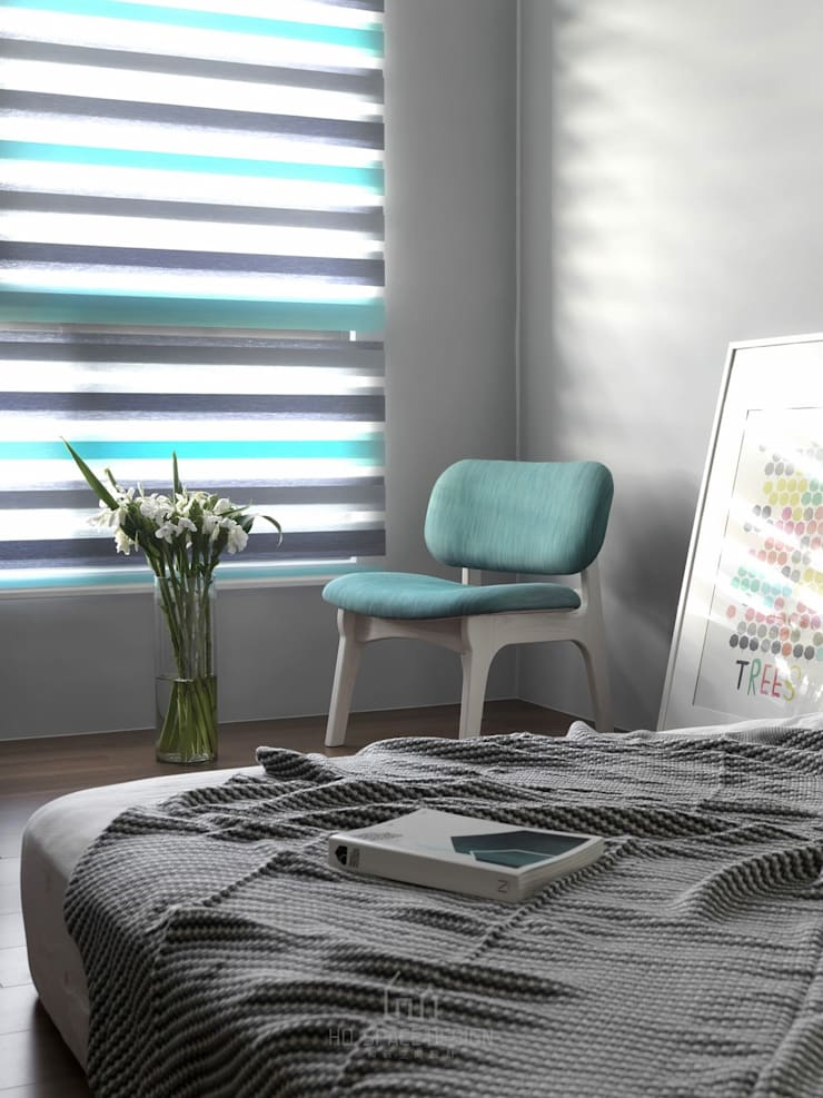 大毅家風景L宅:  臥室 by Ho.space design 和薪室內裝修設計有限公司