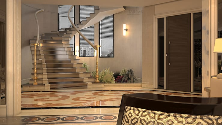 Villa living area:  Corridor, hallway & stairs by AL-TRASS CREATIONS DESIGN