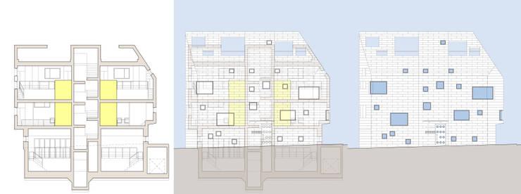 내부공간과 바깥의 입면. 디자인의도: 깊은풍경의 현대 ,모던