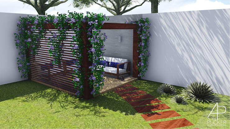 Pergolado: Jardins zen  por Alice Pucker Design de Interiores