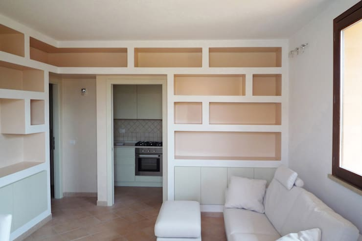 La realizzazione di una libreria in cartongesso for Parete soggiorno cartongesso