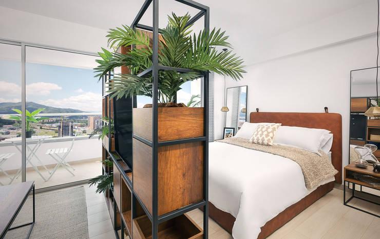 Division area social y habitacion: Habitaciones de estilo  por Maria Mentira Studio, Moderno Madera Acabado en madera