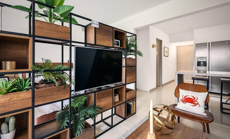 División espacio: Salas de estilo  por Maria Mentira Studio, Moderno Madera Acabado en madera