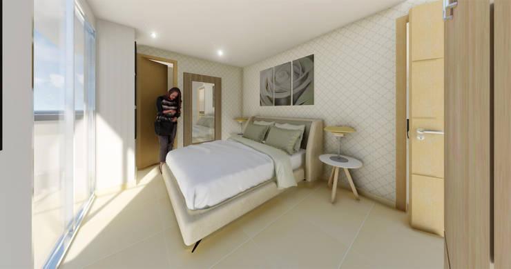 Alcoba Principal: Dormitorios de estilo  por DIKTURE Arquitectura + Diseño Interior
