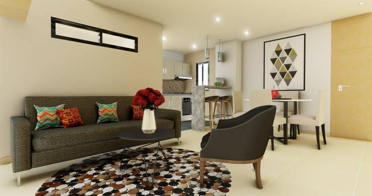Sala : Salones de estilo  por DIKTURE Arquitectura + Diseño Interior