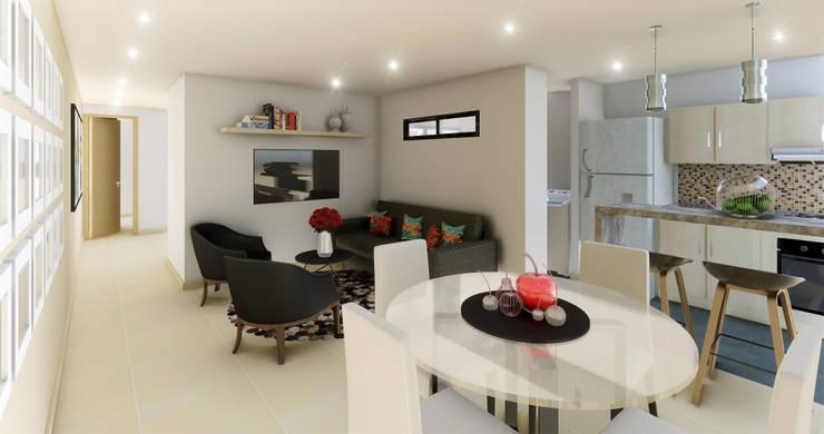 Sala - Comedor: Comedor de estilo  por DIKTURE Arquitectura + Diseño Interior