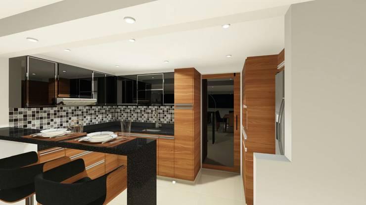 DISEÑO - MOBILIARIO COCINA :  de estilo  por DIKTURE Arquitectura + Diseño Interior, Moderno