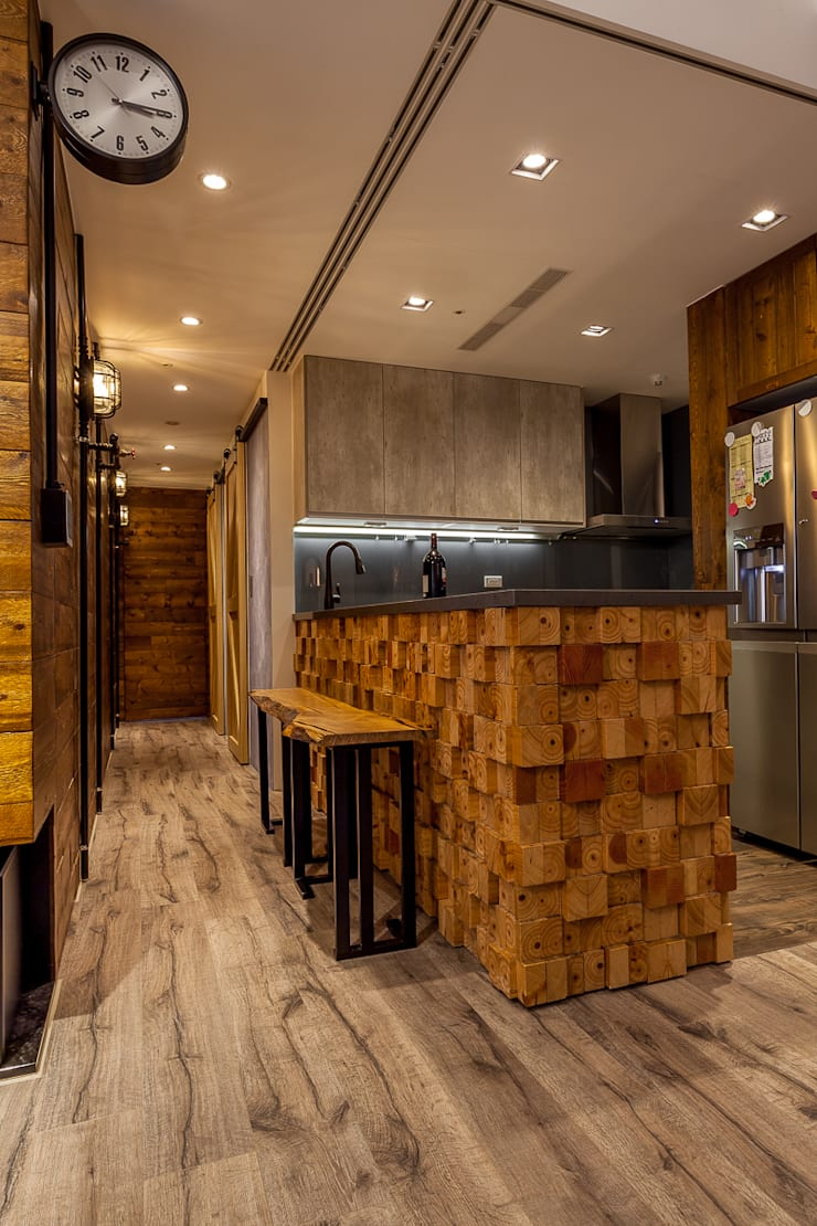 輕工業風溫馨小木屋:  廚房 by 傑羅設計事業有限公司
