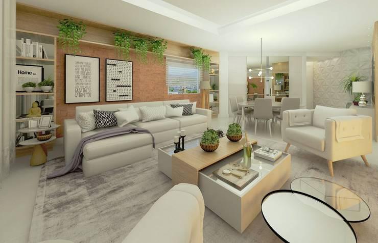 Perspectiva Sala de estar | Jantar: Salas de estar modernas por Letícia Saldanha Arquitetura