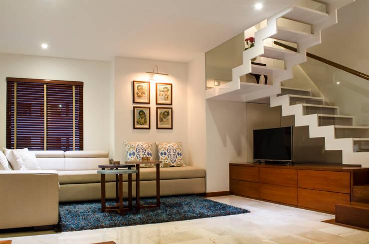 Hall Televisión: Salas multimedia de estilo ecléctico por Tejero & Ángel Diseño de Interiores