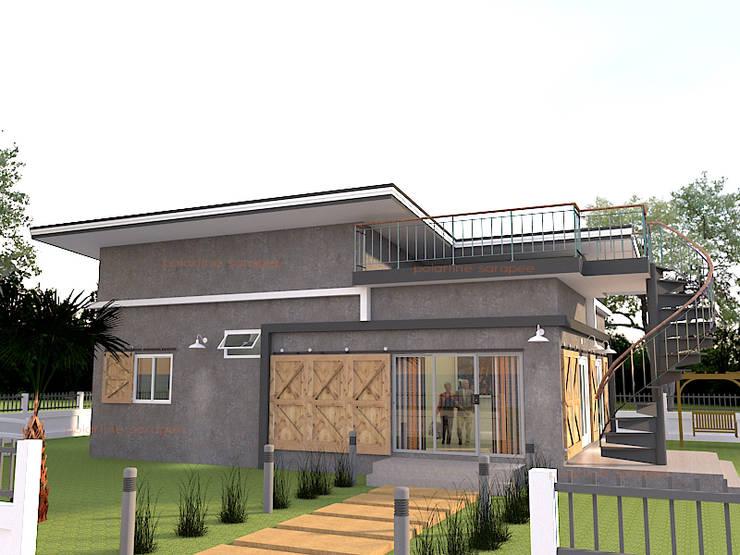 บ้านชั้นเดียวพร้อมดาดฟ้า:  บ้านเดี่ยว by แบบบ้านออกแบบบ้านเชียงใหม่