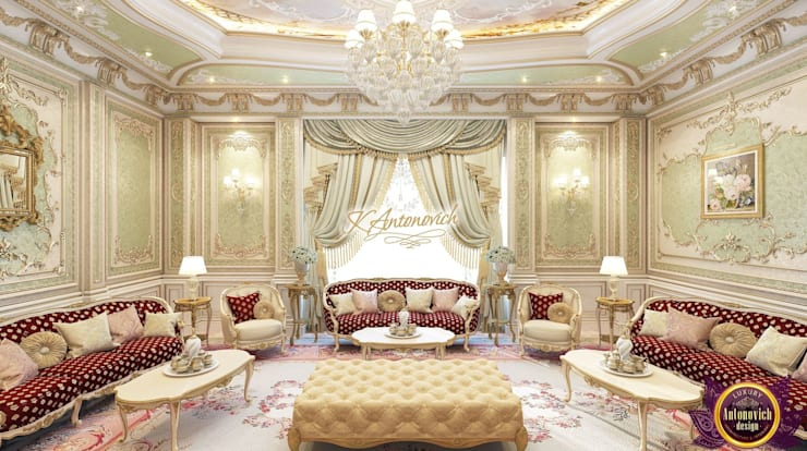 ​Luxury living room design ideas from Katrina Antonovich:  Living room by Luxury Antonovich Design
