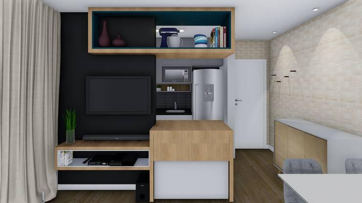 Sala/Cozinha: Salas de estar  por TR Interiores