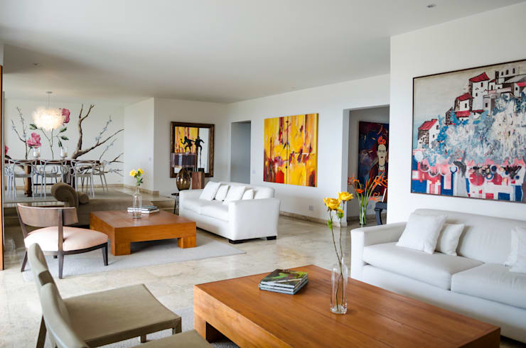 Apartamento Aristizabal - Alviar / Parte 1: Salas de estilo  por Tejero & Ángel Diseño de Interiores