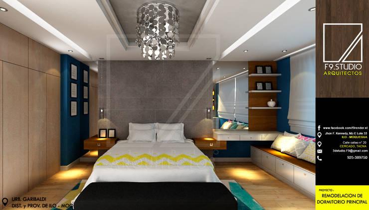 Vista Frontal del Dormitorio: Dormitorios de estilo  por F9 studio Arquitectos