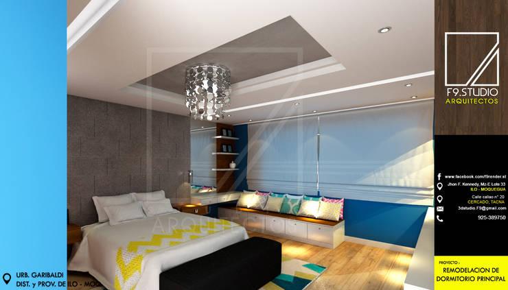 Vista Lateral de Dormitorio: Dormitorios de estilo  por F9.studio Arquitectos, Moderno Cerámico